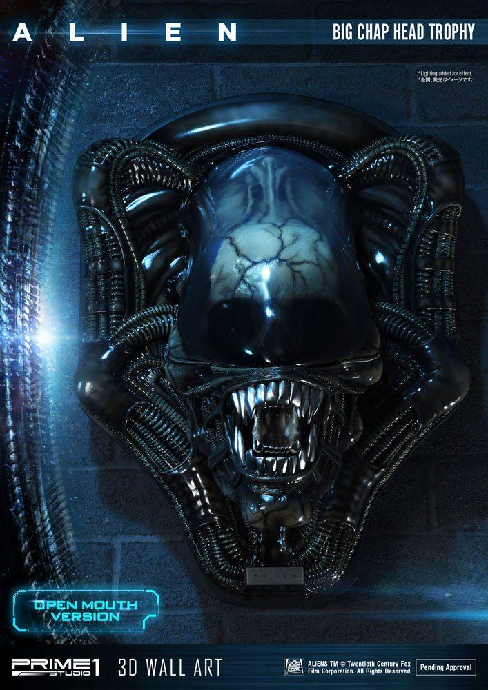 Alien plaque murale 3d warrior head trophy open mouth version 58 cm 2