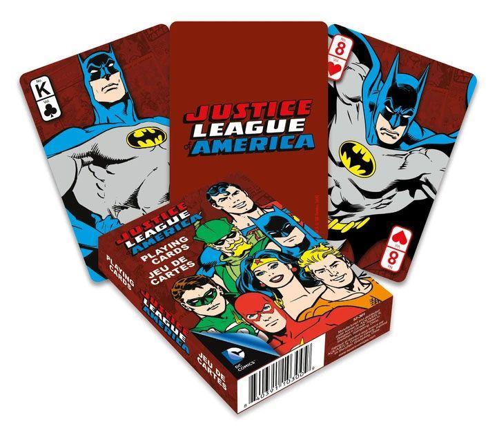 Dc comics jeu de cartes a jouer retro justice league