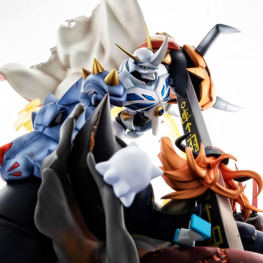 Digimon adventure bokura no uo gemu statuette pvc vs series omegamon vs diabolomon 34 cm 5