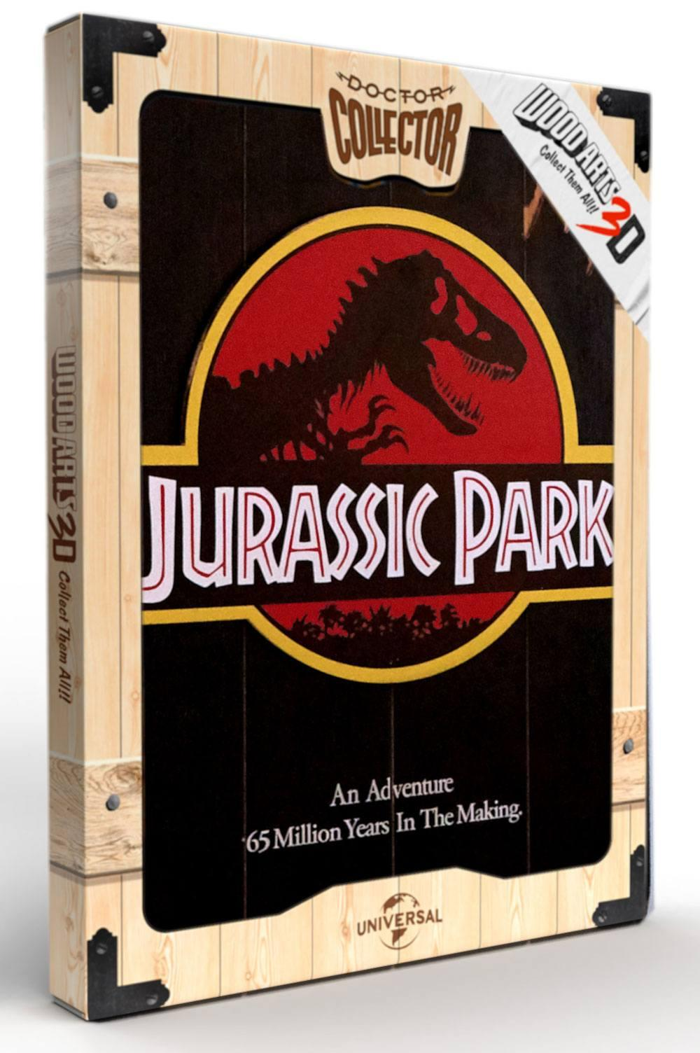 Jurassic park tableau en bois woodarts 3d logo print 1