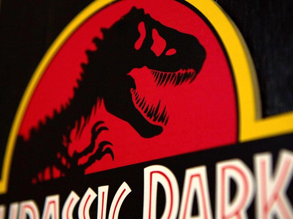 Jurassic park tableau en bois woodarts 3d logo print 2