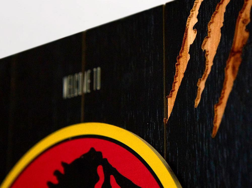 Jurassic park tableau en bois woodarts 3d logo print 3