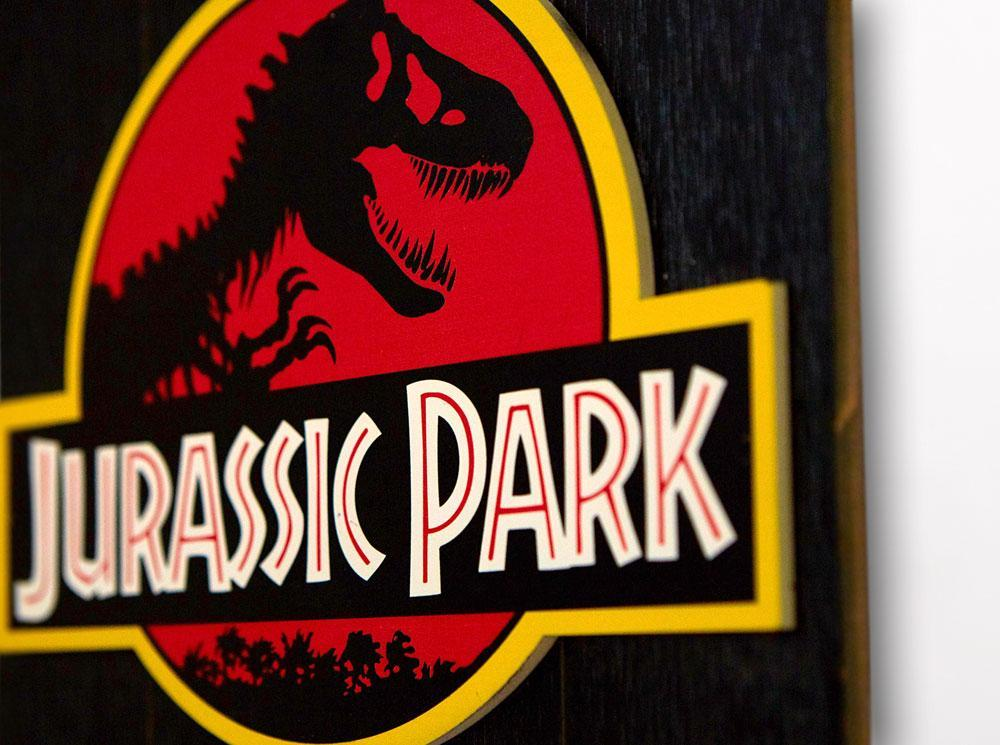 Jurassic park tableau en bois woodarts 3d logo print 4