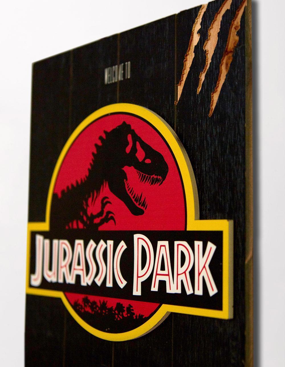 Jurassic park tableau en bois woodarts 3d logo print 5