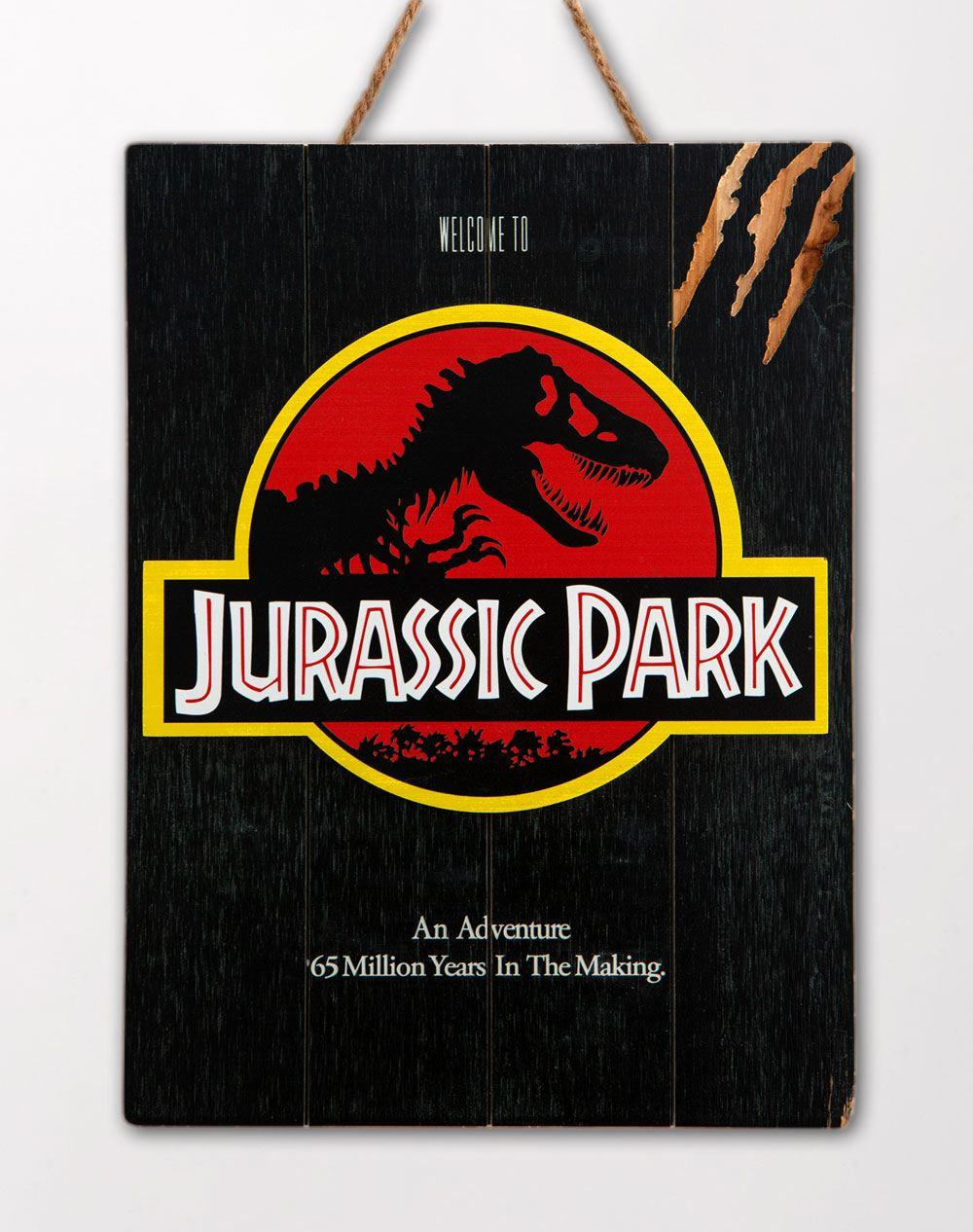 Jurassic park tableau en bois woodarts 3d logo print 6