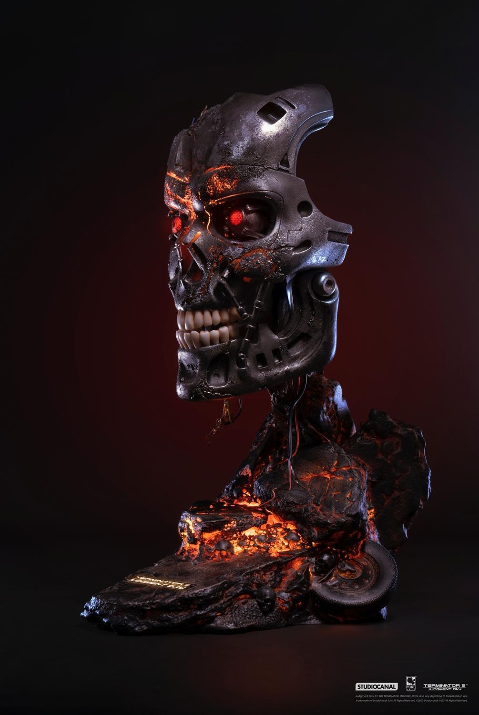 T800 buste mask battle damaged art terminator 2 resine pure arts 1 1