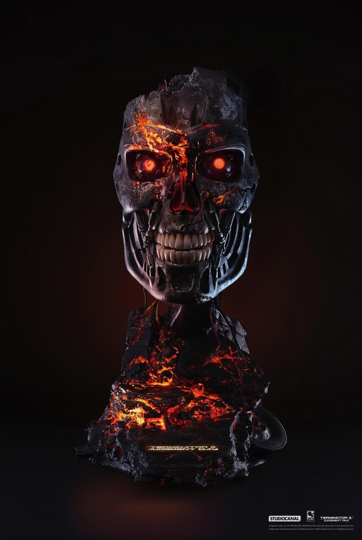 T800 buste mask battle damaged art terminator 2 resine pure arts 3